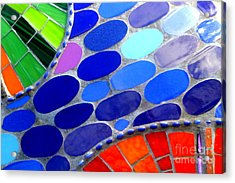 Mosaic Abstract Of The Blue Green Red Orange Stones Acrylic Print by Michael Hoard