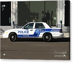 Montreal Police Car Poster Art Acrylic Print by Reb Frost