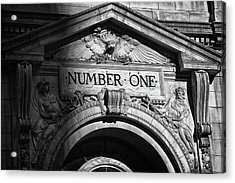 Number One Building In Black And White Acrylic Print by Val Black Russian Tourchin