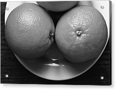 Oranges On White Plate In Black And White Acrylic Print