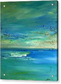 Acrylic Print featuring the painting  Pearls Of Tranquility Seascape 1 by Dolores  Deal