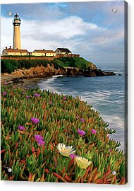 Pigeon Point Lighthouse With Spring Wildflowers Acrylic Print by George Oze