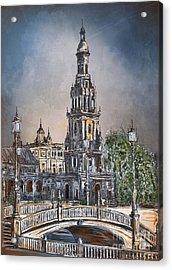 Acrylic Print featuring the painting  Plaza De Espana In Seville by Andrzej Szczerski