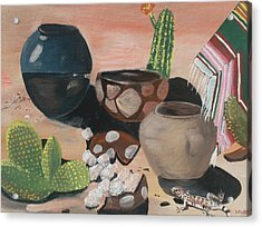 Pottery In The Desert Acrylic Print by Aleta Parks