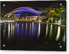 Puerto Rico Convention Center At Night Acrylic Print by George Oze