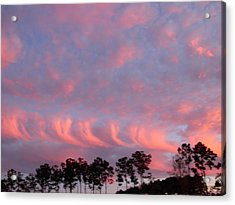 Acrylic Print featuring the photograph  Salmon Cloud Parade At Sunset by Jeanne Kay Juhos