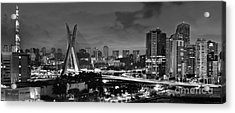 Sao Paulo Iconic Skyline - Cable-stayed Bridge - Ponte Estaiada Acrylic Print