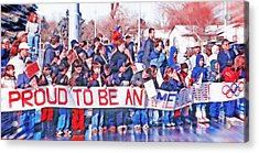School Children Holding Sign - Olympic Torch Passing Acrylic Print by Steve Ohlsen