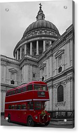 St Pauls Cathedral Red Bus Acrylic Print
