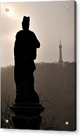 Statue And Petrin Tower Acrylic Print