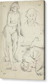 Studies Of Three Figures Including A Self-portrait  Acrylic Print