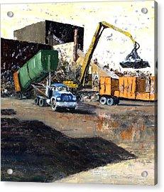 The Blue Truck Acrylic Print by Nancy Albrecht