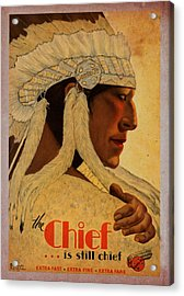 The Chief Train - Vintage Poster Vintagelized Acrylic Print
