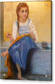 The Girl That Loves To Sew  Acrylic Print by Tina Haeger