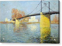 The Suspension Bridge Has Trielsurseine Acrylic Print by Celestial Images