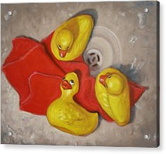 Acrylic Print featuring the painting  Three Rubber Ducks  #1 by Donelli  DiMaria