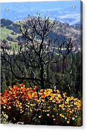 Tree And Poppies Acrylic Print