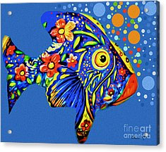 Acrylic Print featuring the digital art  Tropical Fish by Eleni Mac Synodinos