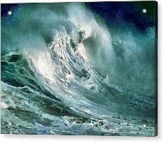 Tsunami - Raging Sea Acrylic Print by Russ Harris