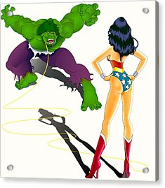 Wonder Woman Vs Hulk Acrylic Print