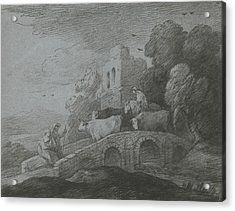Wooded Landscape With Herdsman Driving Cattle Over A Bridge Acrylic Print by Thomas Gainsborough