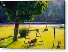 Wooden Swing In The Garden Acrylic Print