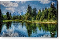 Wyoming Tetons Spruce Mountain Lake. Oil Painting . Acrylic Print by Heinz G Mielke