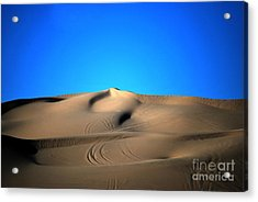 Yuma Dunes Number One Bright Blue And Tan Acrylic Print
