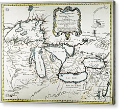 Great Lakes Map, 1755 Acrylic Print by Granger