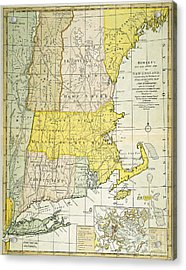 New England Map, C1775 Acrylic Print by Granger