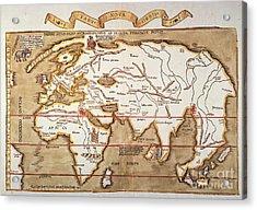 Waldseemuller: World Map Acrylic Print by Granger