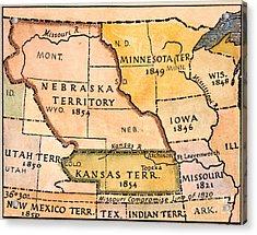 Kansas-nebraska Map, 1854 Acrylic Print
