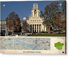007 James Bond Skyfall Location Map, London Acrylic Print