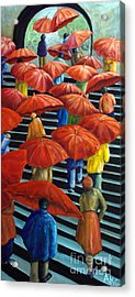 01149 Climbing Umbrellas Acrylic Print by AnneKarin Glass