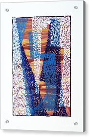 01325 Blue Too Acrylic Print by AnneKarin Glass