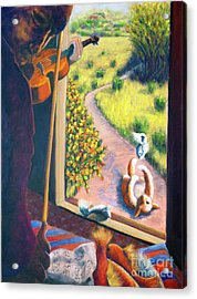 01349 The Cat And The Fiddle Acrylic Print by AnneKarin Glass