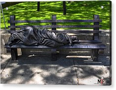 02 Homeless Jesus By Timothy P Schmalz Acrylic Print by Michael Frank Jr