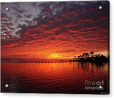 0205 Awesome Sunset Colors On Santa Rosa Sound Acrylic Print by Jeff at JSJ Photography