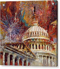 070 United States Capitol Building - Us Independence Day Celebration Fireworks Acrylic Print