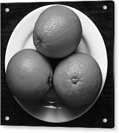 Oranges On White Plate In Black And White Acrylic Print by Donald Erickson