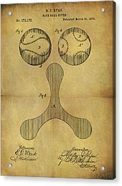 1876 Baseball Patent Acrylic Print by Dan Sproul