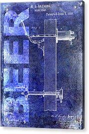 1886 Beer Pump Patent Blue Acrylic Print