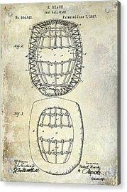 1887 Baseball Mask Patent Acrylic Print by Jon Neidert