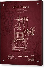 1903 Wine Press Patent - Red Wine Acrylic Print by Aged Pixel