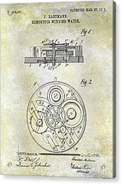 1908 Pocket Watch Patent  Acrylic Print
