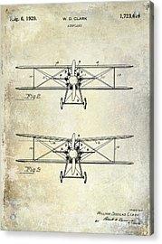 1929 Airplane Patent  Acrylic Print