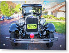 Acrylic Print featuring the photograph 1929 Ford Model A Tudor Police Sedan  by Rich Franco