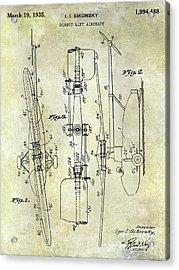 1935 Helicopter Patent  Acrylic Print by Jon Neidert