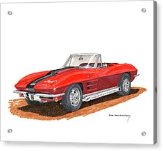 1963 Corvette Stingraw Roadster Acrylic Print by Jack Pumphrey