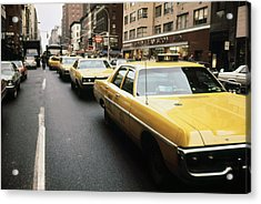 1970s America. Yellow Taxi Cabs Acrylic Print by Everett